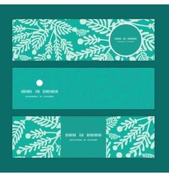 Emerald green plants horizontal banners set vector