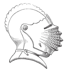 Fifteenth century helmet engraving vector image vector image