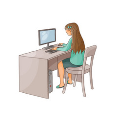 Flat girl using pc sitting at desktop vector