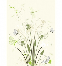 floral background with dandelion vector image