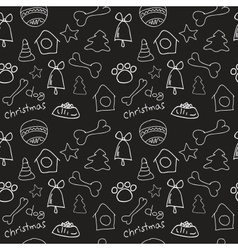Fun christmas seamless black pattern vector image