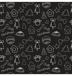 Fun christmas seamless black pattern vector image vector image