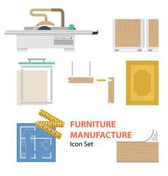Furniture manufacture flat set vector