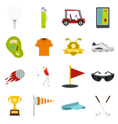 Golf items icons set in flat style vector