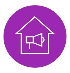 House fire alarm line icon vector