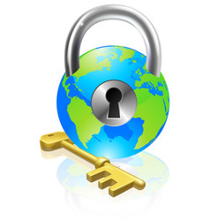 Lock and key globe vector