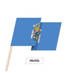 Melilla Ribbon Waving Flag Isolated on White vector image