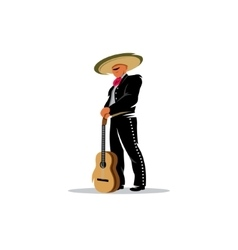 Mexican musician with guitar sign vector