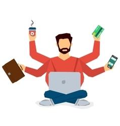 Multitasking businessman isolated vector image