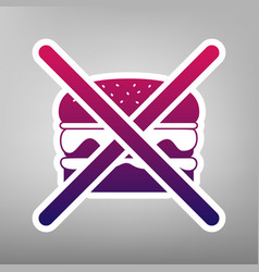 No burger sign purple gradient icon on vector