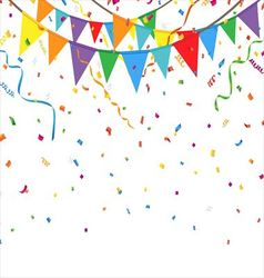 Party flags with confetti and streamer vector