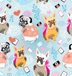 pattern of a dog Bulldogs vector image vector image