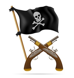 Pirate flag and pistols vector