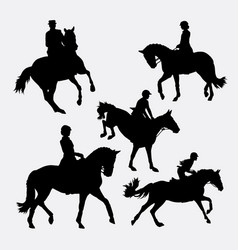 riding horse silhouette vector image