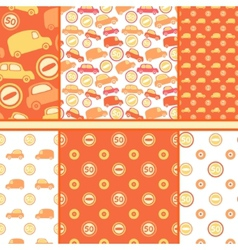 Set of seamless toy cars patterns - orange pattern vector