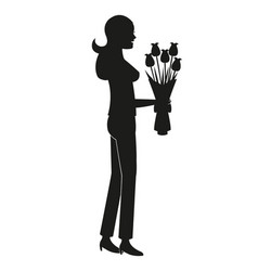 silhouette mother bouquet flowers vector image vector image