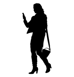 Silhouette young girl with handbag standing vector image