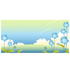 sky Landscape flowers vector image vector image