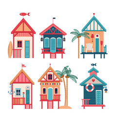 summer set of beach huts vector image