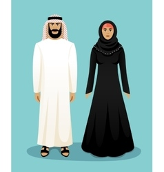Traditional arab clothing Man and woman vector image