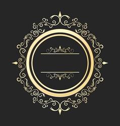 Vintage round gold floral frame Ornate vector image