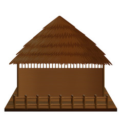 Wooden hut on woodn raft vector