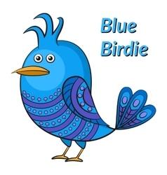 Blue funny bird vector