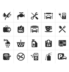 Black petrol station icons vector