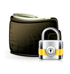 Lock and wallet icon vector image
