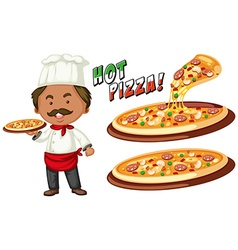 Italian chef and hot pizza vector