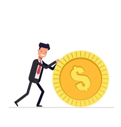 Businessman or manager pushes a gold coin Man in vector image