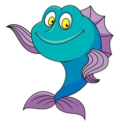 Cute fish cartoon waving vector