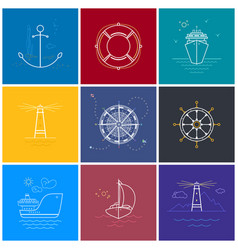 Colored maritime elements in line style vector