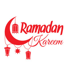 Ramadan kareem crescent moon lantern vector