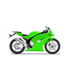 Green sports motorbike flat isolated on vector