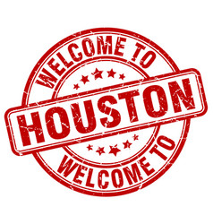 Welcome to houston red round vintage stamp vector