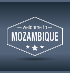 Welcome to mozambique hexagonal white vintage vector