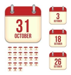 October calendar icons vector