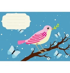 Background with blooming tree branch and bird vector image
