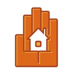 Icon of a house in the palm of a hand vector
