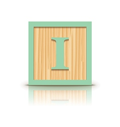 Letter i wooden alphabet block vector
