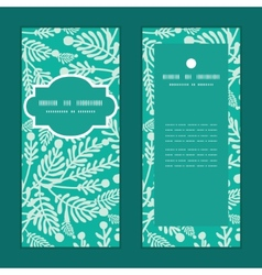 Emerald green plants vertical frame pattern vector