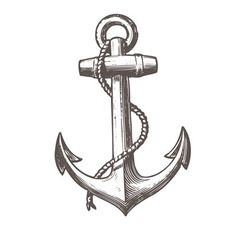 anchor black white black-white print vector image