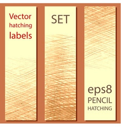Set of 3 labels with pencil hatching vector