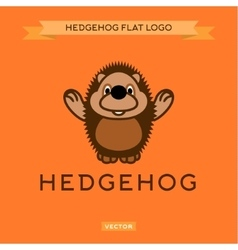 Smiling nice hedgehog welcomes the flat style vector
