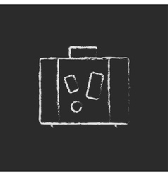 Suitcase icon drawn in chalk vector