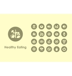 Set of healthy eating simple icons vector