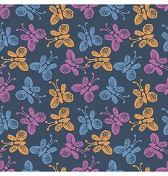 Pattern with cute butterflies on the blue backdrop vector