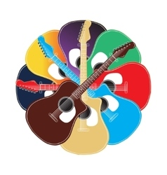 Set of colored acoustic guitars vector