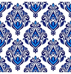Luxury damask floral seamless pattern blue vector